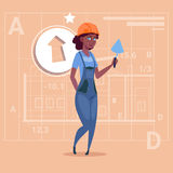 Cartoon Female Builder African American Wearing Uniform And Helmet Construction Worker Over Abstract Plan Background. Flat Vector Illustration Royalty Free Illustration