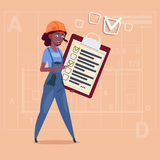 Cartoon Female Builder Carpenter Hold Checklist African American Construction Worker Over Abstract Plan Background. Flat Vector Illustration Stock Illustration