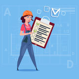 Cartoon Female Builder Carpenter Hold Checklist Construction Worker Over Abstract Plan Background. Flat Vector Illustration Stock Photo