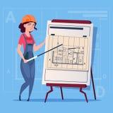 Cartoon Female Builder Explain Plan Of Building Blueprint Wearing Uniform And Helmet Construction Worker Contractor. Flat Vector Illustration Royalty Free Stock Images