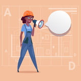 Cartoon Female Builder Holding Megaphone Making Announcement African American Construction Worker Over Abstract Plan. Background Flat Vector Illustration Stock Photos