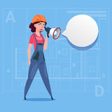 Cartoon Female Builder Holding Megaphone Making Announcement Woman Construction Worker Over Abstract Plan Background Royalty Free Stock Photos