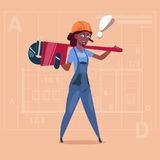 Cartoon Female Builder Wearing Uniform And Helmet African American Construction Worker Over Abstract Plan Background. Flat Vector Illustration Stock Illustration