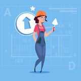Cartoon Female Builder Wearing Uniform And Helmet Construction Hold Spatula Worker Over Abstract Plan Background Stock Photo