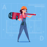 Cartoon Female Builder Wearing Uniform And Helmet Construction Worker Over Abstract Plan Background. Flat Vector Illustration Stock Images