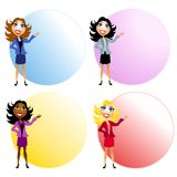 Cartoon Female Businesswomen. An illustration featuring 4 cartoonish businesswomen standing in front of colourful circles ideal for text placement Stock Photos