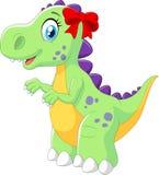 Cartoon female dinosaur isolated on white background Royalty Free Stock Photo