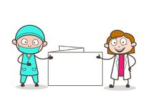Cartoon Female Doctor and Cardiologist Presenting a Blank Message Banner. Vector Illustration stock illustration