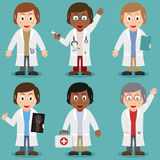 Cartoon Female Doctor Characters Set Royalty Free Stock Image