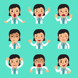 Cartoon female doctor expressing different emotions with speech bubbles. For design Royalty Free Stock Image