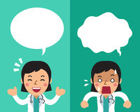 Cartoon female doctor expressing different emotions with speech bubbles. For design Stock Photo