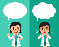 Cartoon female doctor expressing different emotions with speech bubbles. For design Royalty Free Stock Photo