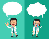 Cartoon female doctor expressing different emotions with speech bubbles. For design Royalty Free Stock Photos