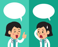 Cartoon a female doctor expressing different emotions with speech bubbles. For design Stock Photos