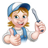 Cartoon Female Electrician Holding Screwdriver Stock Images