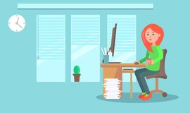 Cartoon Female Employee in Office Illustration. Cartoon female employee with cup of coffee in comfortable office at computer. Cozy interior with large windows Royalty Free Stock Photos