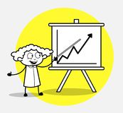 Cartoon Female Employee Presenting a Business Graph in Seminar. Vector Illustration Royalty Free Stock Image