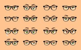 Cartoon female eyes. Colored vector closeup eyes with glasses. Female woman eyes and brows image collection set. Emotions eyes. Il vector illustration