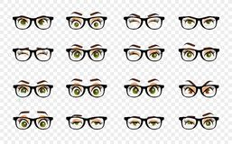 Cartoon female eyes. Colored vector closeup eyes with glasses. Female woman eyes and brows image collection set royalty free illustration