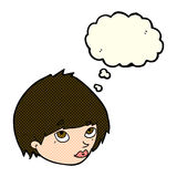 Cartoon female face looking up with thought bubble Stock Photos