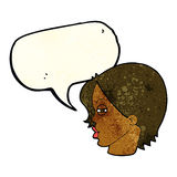 Cartoon female face with narrowed eyes with speech bubble Stock Photos