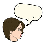 Cartoon female face with narrowed eyes with speech bubble Royalty Free Stock Photo