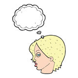 Cartoon female face with narrowed eyes with thought bubble Stock Photos