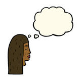 Cartoon female face profile with thought bubble Royalty Free Stock Photos