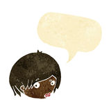 Cartoon female face with raised eyebrow with speech bubble Stock Photos