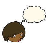 Cartoon female face with raised eyebrow with thought bubble Stock Photo