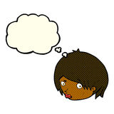 Cartoon female face with raised eyebrow with thought bubble Royalty Free Stock Image
