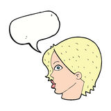 cartoon female face staring with speech bubble Stock Photos