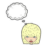 Cartoon female face staring with thought bubble Stock Images
