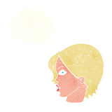 Cartoon female face staring with thought bubble Royalty Free Stock Photography