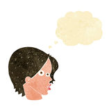 Cartoon female face with thought bubble Royalty Free Stock Photos