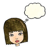 Cartoon female face with thought bubble Stock Photography