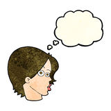 Cartoon female face with thought bubble Royalty Free Stock Photography