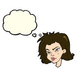 Cartoon female face with thought bubble Royalty Free Stock Images