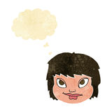 Cartoon female face with thought bubble Stock Photo