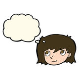 Cartoon female face with thought bubble Royalty Free Stock Image