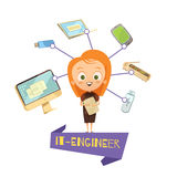 Cartoon Female Figurine Of IT Engineer. And data exchange tools icons set as visual information for kids vector illustration Stock Photo