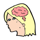 Cartoon female head with brain symbol Royalty Free Stock Photography