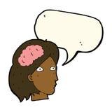 Cartoon female head with brain symbol with speech bubble Stock Photo