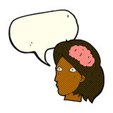 Cartoon female head with brain symbol with speech bubble Royalty Free Stock Image