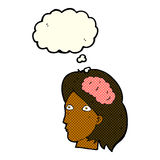 Cartoon female head with brain symbol with thought bubble Stock Images