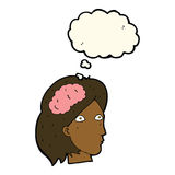 Cartoon female head with brain symbol with thought bubble Royalty Free Stock Image