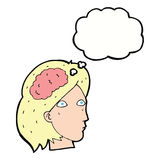 Cartoon female head with brain symbol with thought bubble Stock Image