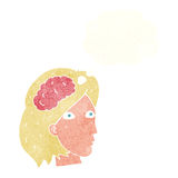 Cartoon female head with brain symbol with thought bubble Royalty Free Stock Photos