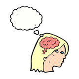 Cartoon female head with brain symbol with thought bubble Royalty Free Stock Photography
