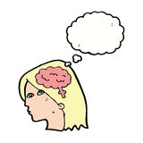 Cartoon female head with brain symbol with thought bubble Royalty Free Stock Images